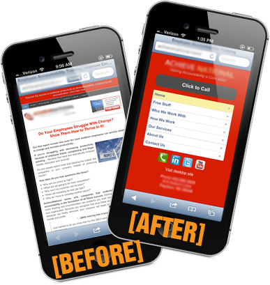 Mobile website before and after