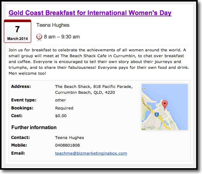 Join Teena's International Women's Day Breakfast in Currumbin