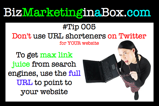 Don't use URL shorteners on Twitter for your own website (image)
