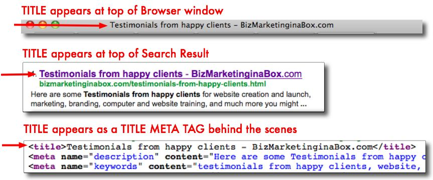 New website design tips - Title meta tag examples in 3 places