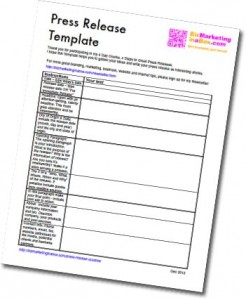 Press Releases - easy template to print (image)
