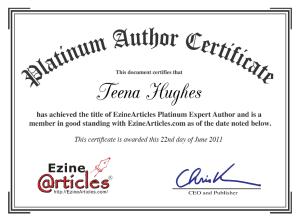 Teena Hughes, Platinum Expert Author