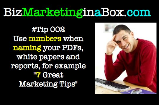 Twitter Tip 002 - Use numbers when naming PDFs for better open rates (image)